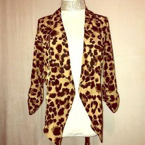 Leopard Tuxedo High Low Lightweight Jacket Medium